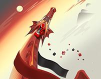 Red Dragon Christmas Card