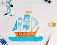 sea wall stickers /Интерьерные наклейки