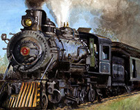 Steam Locomotive Watercolor Painting