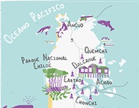 Illustrated map of Chiloe, Chile