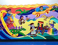 Time-travel themed mural for PS245 in Brooklyn