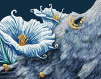 Dreamcatcher Moon Wolf - digital painting