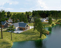 Visualization of an estate of single-family houses