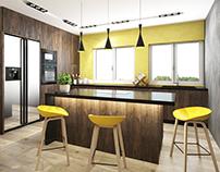 #kitchen #wood #grey #yellow