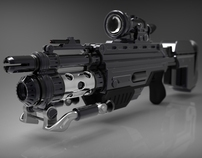 Turntable render of 3D weaponds.