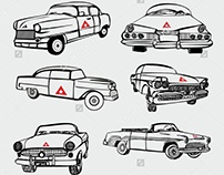 Cuba vintage car graphic design vector art