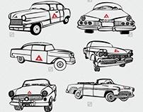 Cuba vintage car graphic design vector art