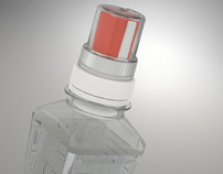 Animation of bottle with dosage cap – Isoline