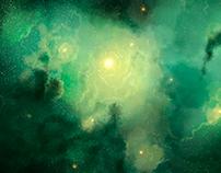 Space Nebula. Digital painting.