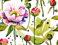 Seamless floral pattern with peonies buds.