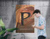 Glued Paper on Concrete Wall Poster Mockup Free