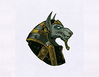 MYSTICAL EGYPTIAN WOLF EMBROIDERY DESIGN