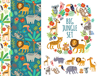 Animals of the jungle. Set of characters and patterns
