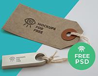 Logo on Label & USB / Free PSD Mockup