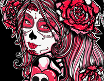 PINK! Day of the Dead Shirt Design