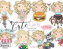 Blonde Hair Girls Activity Stickers