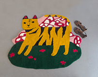 Hand Hooked Rug: Tiger