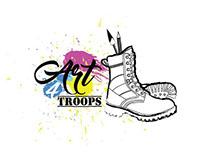 Art For Troops logo, website and promotional flyer