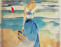 Summer beach and woman illustration
