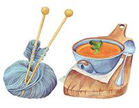 Watercolour calendar. October/Акварельный календарь.