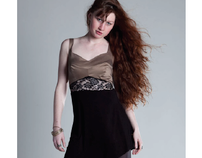 Studio: Pieced Bodice Dress with Lace Cut-out