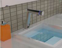 Sensor faucet with handle in spout
