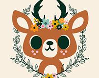 Deer and Flowers Illustration