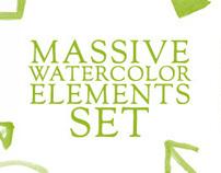 Massive Watercolor Elements Set