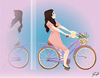 Lady with a cycle