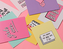 Typography/Illustrated Postcards for Minga London