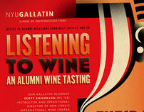 "NYU Gallatin ""Listening to Wine"" poster design"