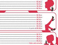 Tabela de Preços - Salão de beleza Rosana França