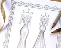 'Carol' - Wedding Dress Illustration