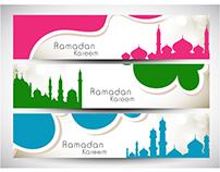 Vector set of Ramadan kareem banner
