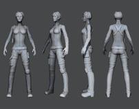 High resolution female sniper Model