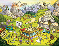Cartoon illustration - Camp Sopot