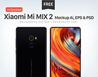 Free Hi-Detailed Xiaomi Mi MIX 2 Mockup Ai, EPS & PSD