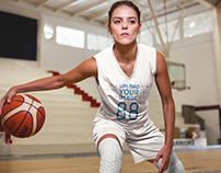 Basketball Jersey Maker - Woman Playing at a Court