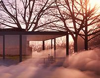 Glass House / Fujiko Nakaya fog sculpture