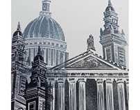 St Paul's Lino Cut experiment