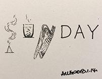 早安篇。星期天(SUNDAY),点一粒香,看浮云;泡一杯茶;看沉浮;读一份报,看天下。