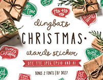 Dingbat Christmas Words Sticker