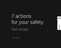 Uber: 7 Actions for your safety — web design