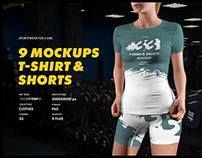 9 Sports T-Shirts and Shorts Mockups ( 1 Free )