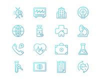Line medical icons set.