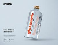 Glass Bottle Mockup Set v.2 (+water)