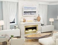 Interior design living room in rustic house