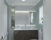 Small bathroom wall tiles + wall painting. two options.