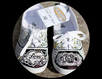 """""""Love and Hate"""" custom shoes"""