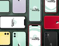 Free PSD six colors iPhone 11 flatlay mockup